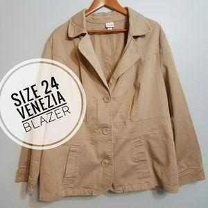 Women's Venezia khaki stretch blazer 24